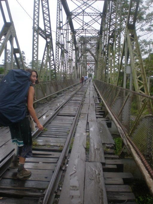 Here I am bracing the bridge