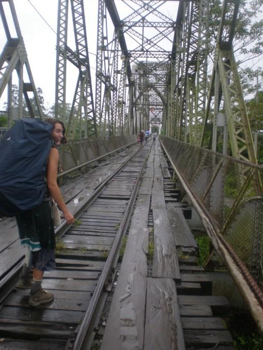 Here I am bracing the bridge