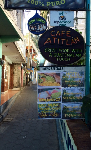 Cafe Atitlan's Menu gives you an idea to the crowd in San Pedro. Re: the hippie breakfast