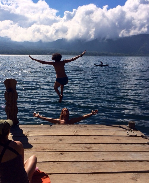 There's nothing like a lake jump to awaken  and feel refreshed.